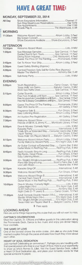 Carnival Fredoom FunTimes Daily program