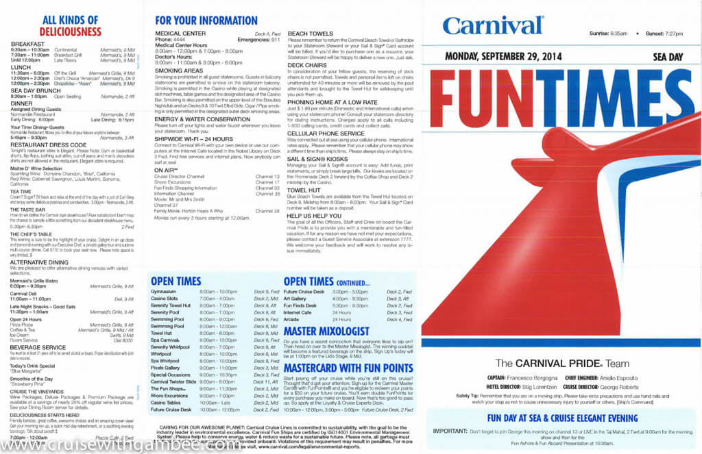 Carnival Pride FunTimes Daily Program