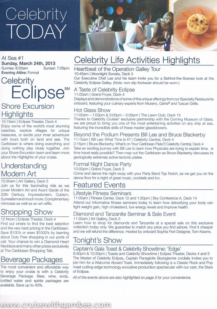 Celebrity Eclipse Today Daily Program