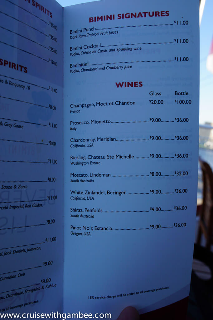 Bimini SuperFast Drinks List