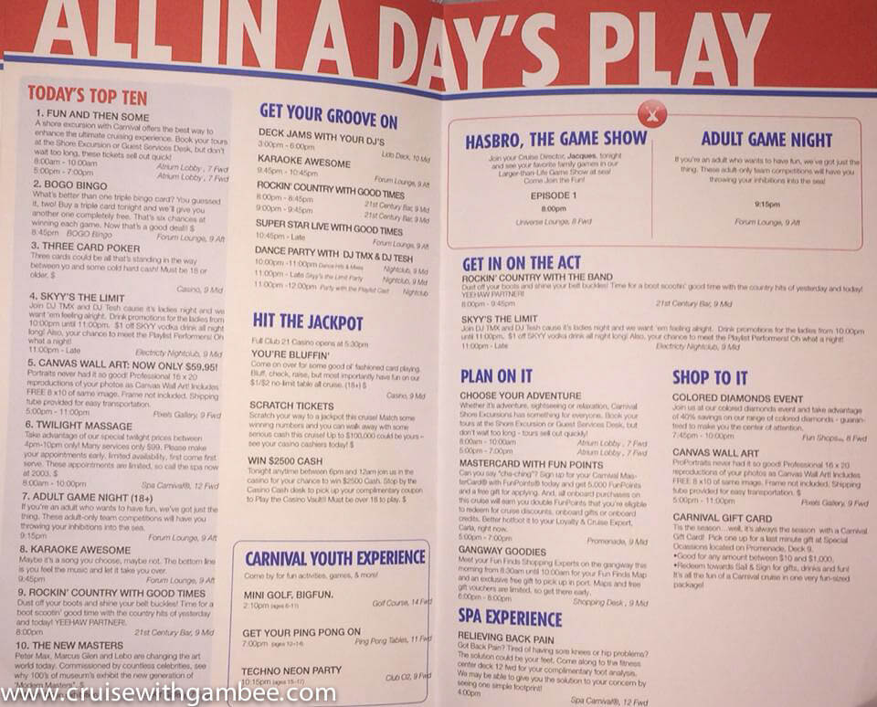 Carnival Fantasy FunTimes Daily Program
