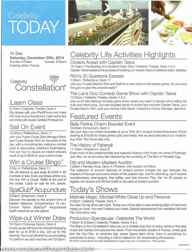 Celebrity Constellation Today Daily Program-16