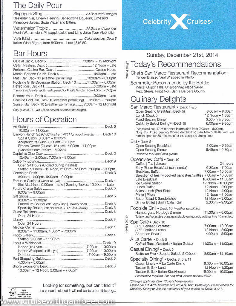 Celebrity Constellation Today Daily Program-17