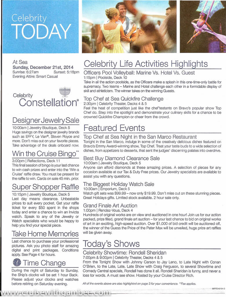 Celebrity Constellation Today Daily Program-19