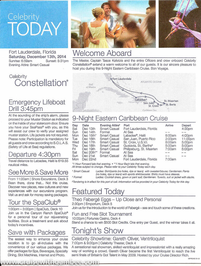 Celebrity Constellation Today Daily Program-2