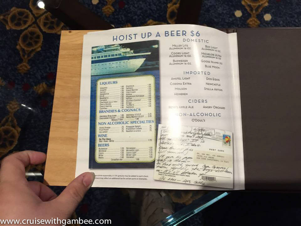 Quantum of the Seas Drink Lists