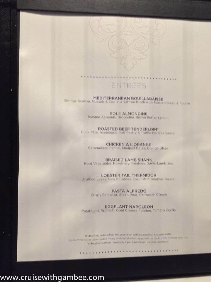 Quantum of the Seas Menus