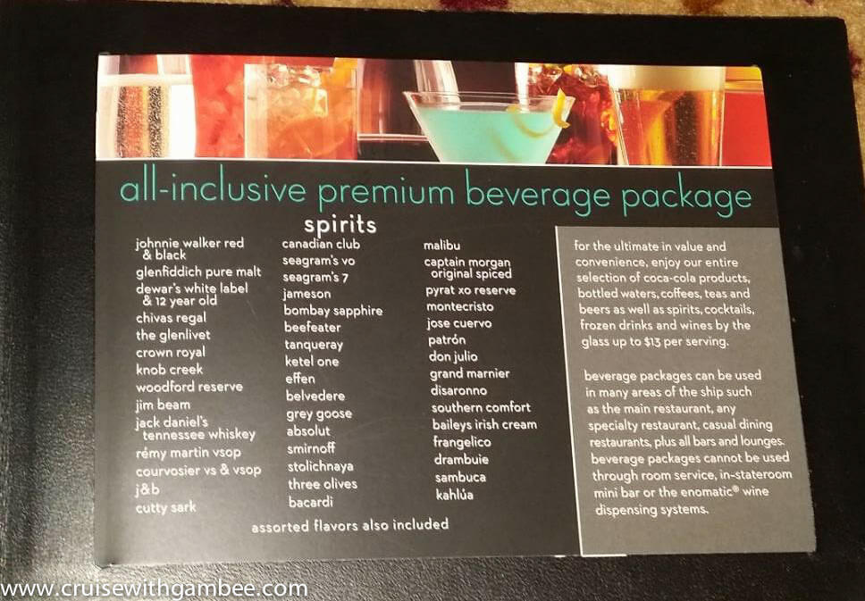 Celebrity Reflection - Bar Menus and Beverage Packages ...