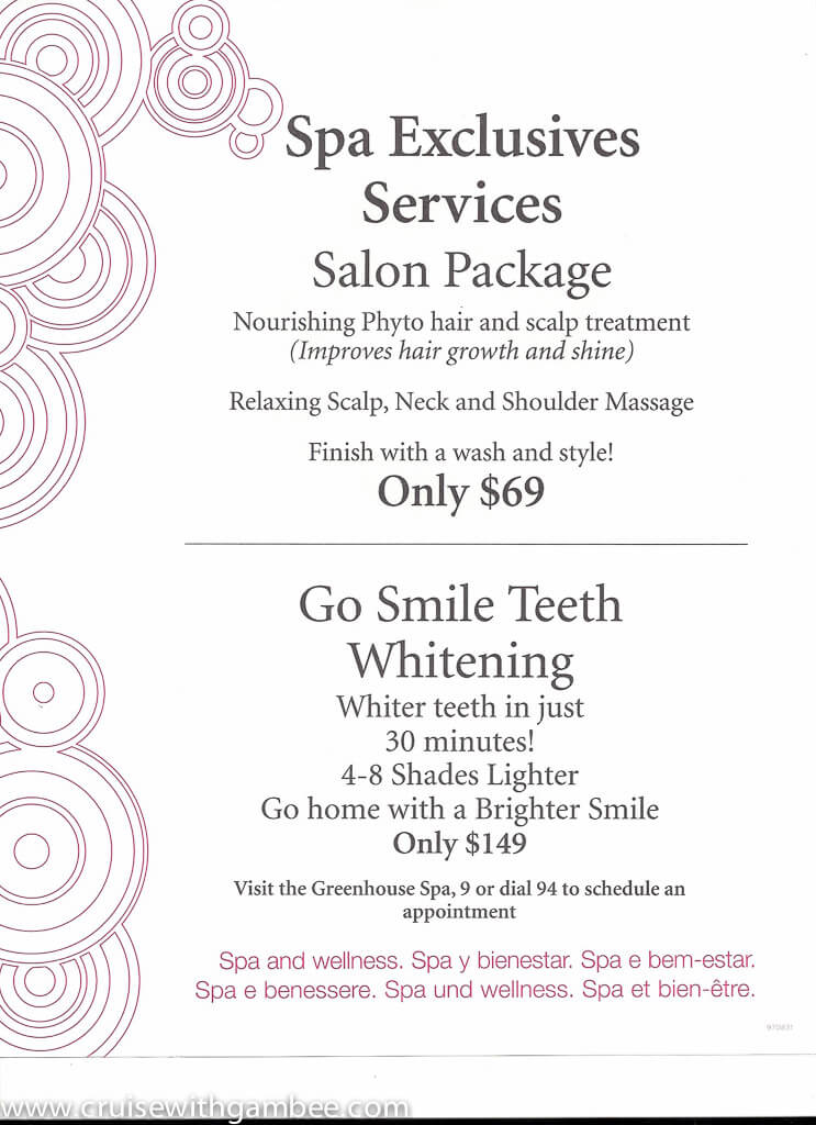Greenhouse Spa And Salon Price List
