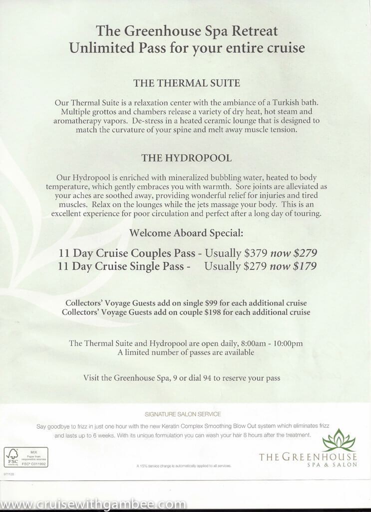Holland America Spa products and prices-5