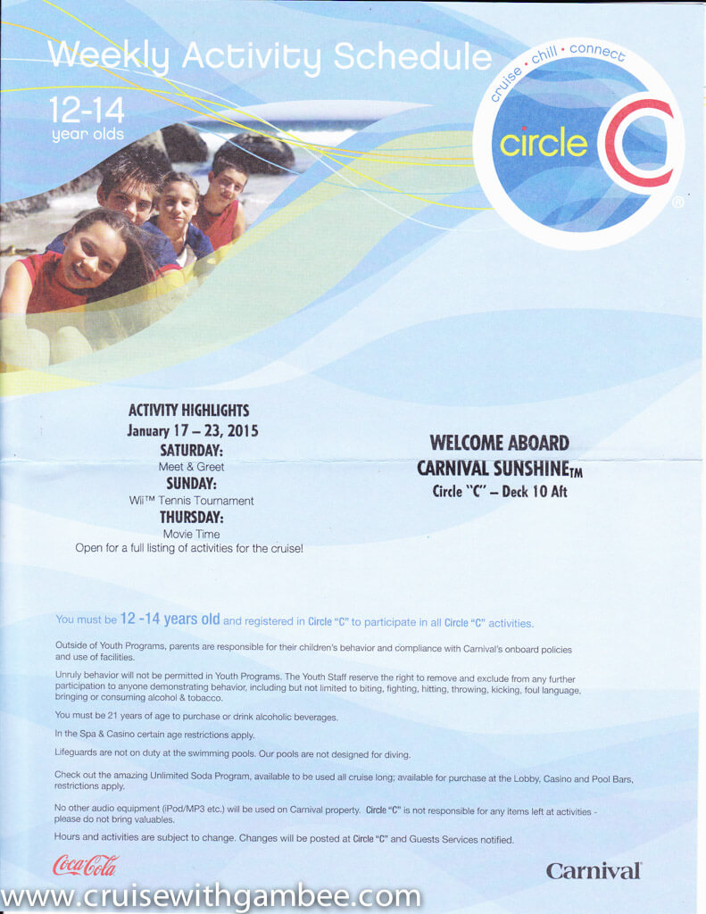 Carnival Cruise Circle C Kids And Teens Programs Schedule Cruise With Gambee
