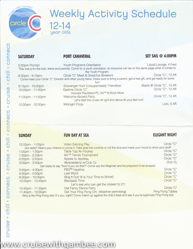 Carnival Circle C kids and Teens programs Schedule-2