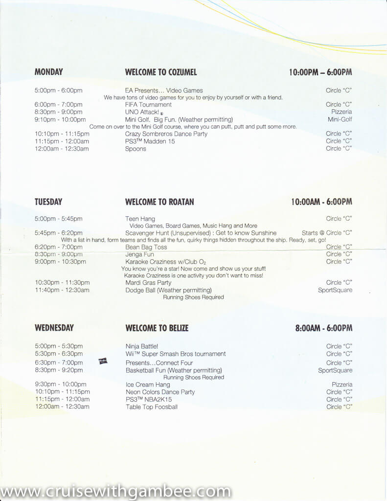 Carnival Circle C kids and Teens programs Schedule-3