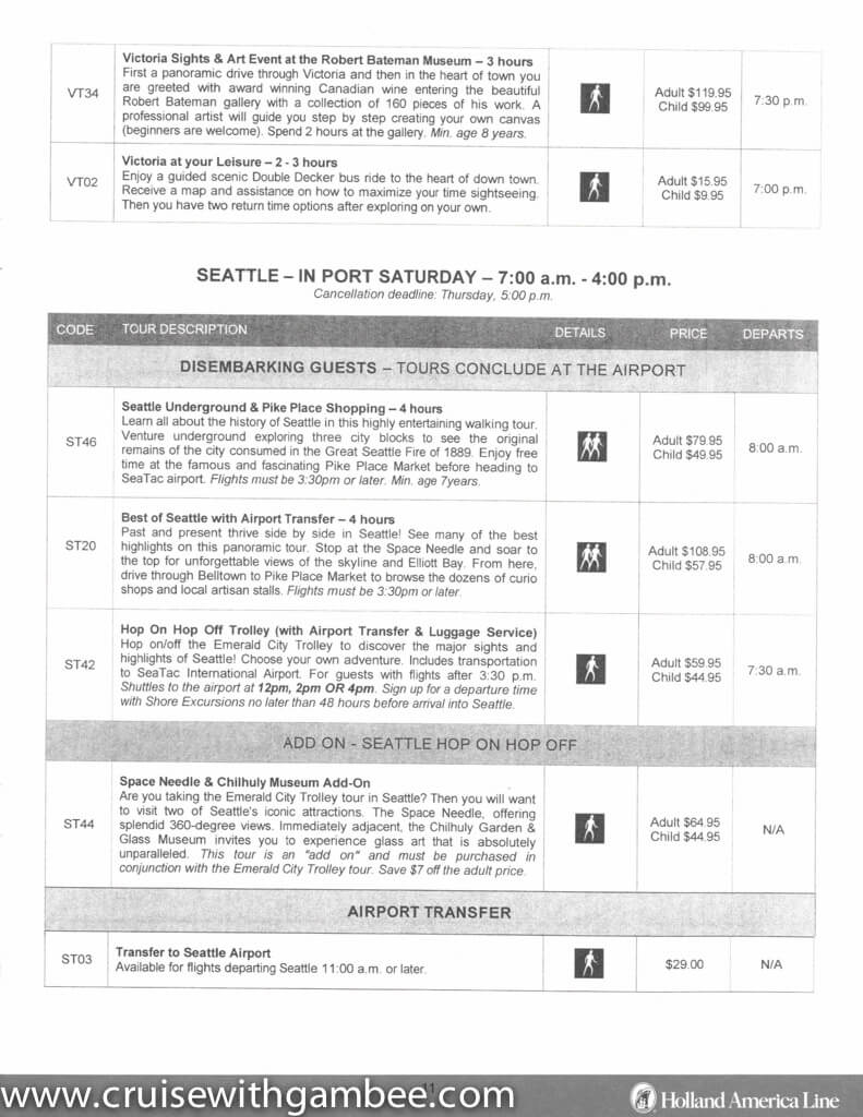 Holland America Alaska Shore Excursions Prices Cruise With Gambee - Alaskan cruise prices