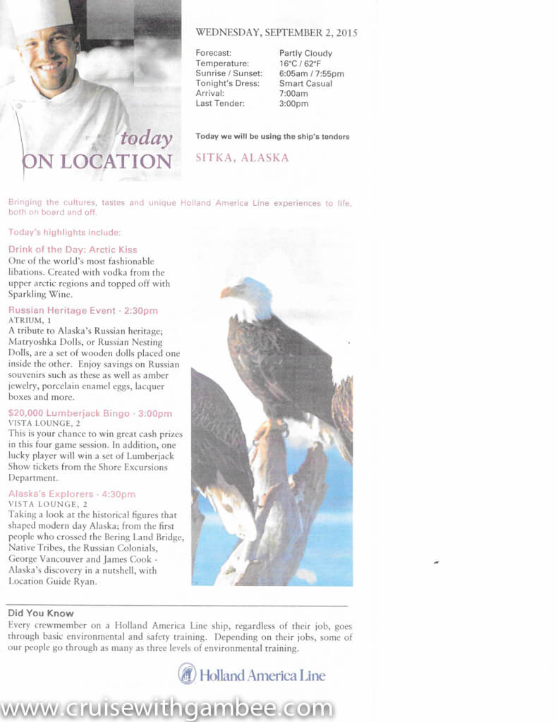 Holland America On Location Daily Papers Westerdam