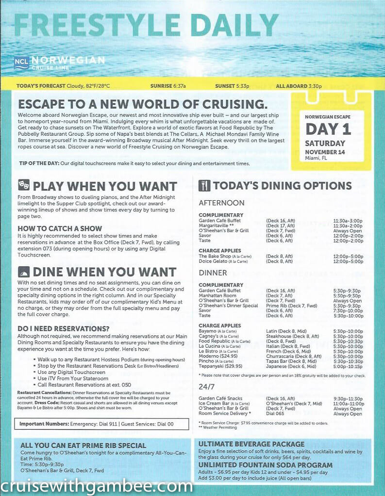 Norwegian Escape FreeStyle Daily Paper – cruise with gambee