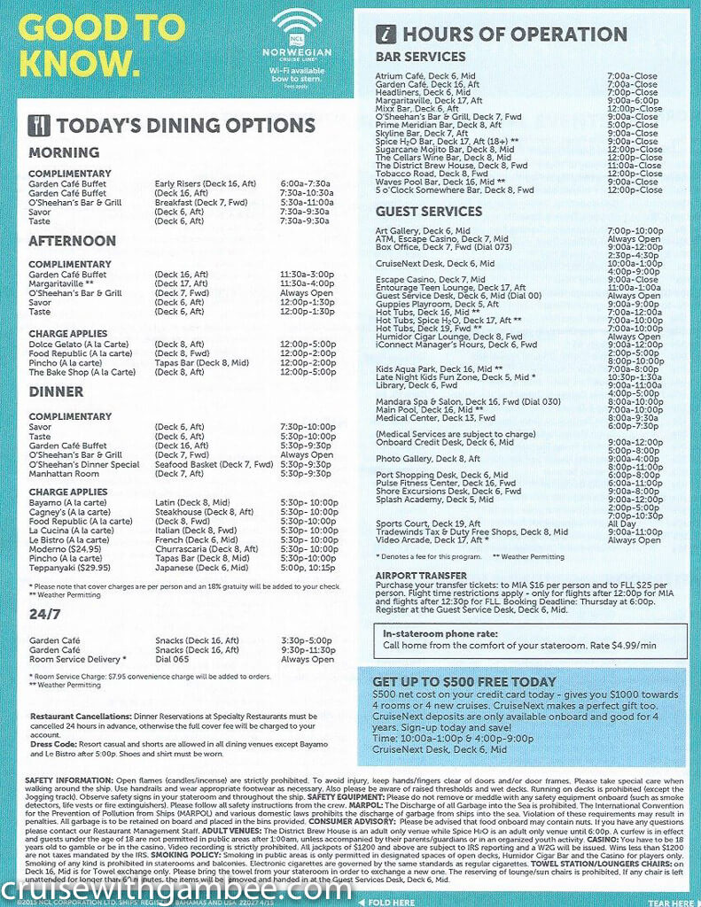 Norwegian Escape Daily eastern itinerary paper-10