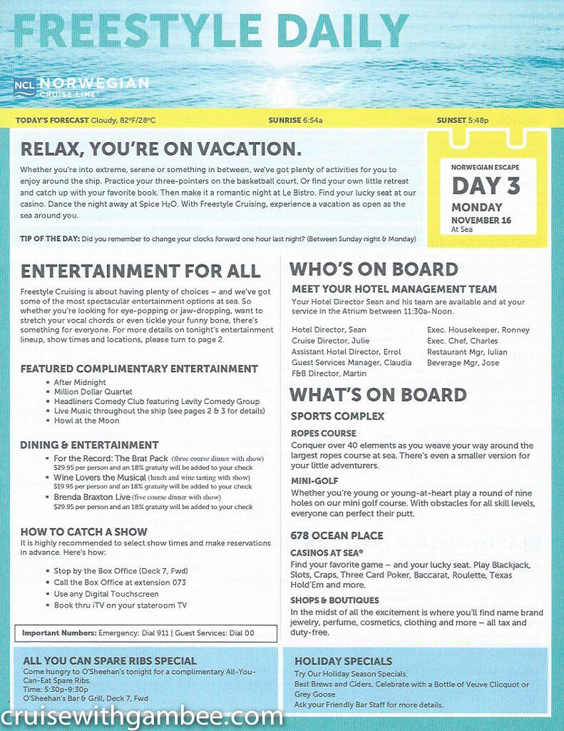 Norwegian Escape Freestyle Daily Paper Cruise With Gambee