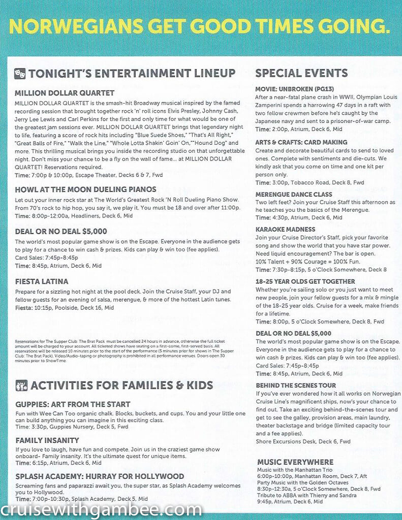 Norwegian Escape Daily eastern itinerary paper-21