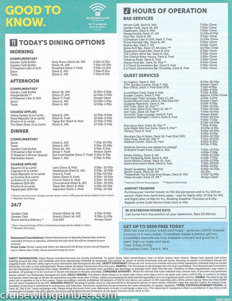 Norwegian Escape Daily eastern itinerary paper-28