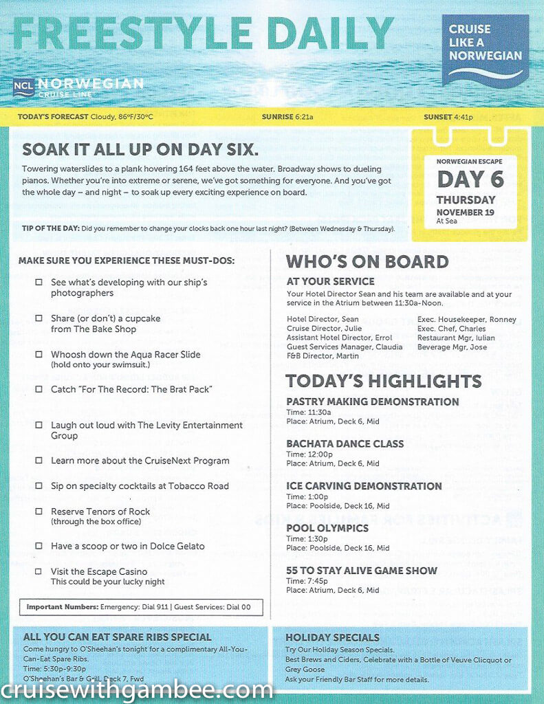 Norwegian Escape Daily eastern itinerary paper-29