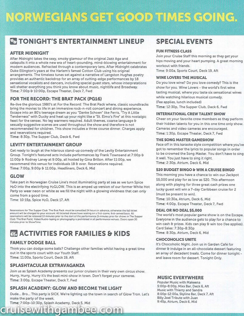 Norwegian Escape Daily eastern itinerary paper-30
