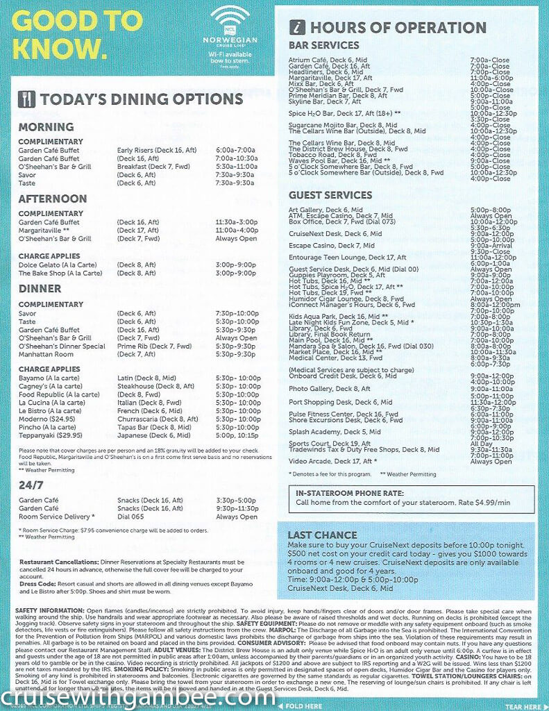 Norwegian Escape Daily eastern itinerary paper-37