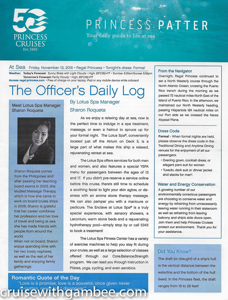 Regal Princess Patter Daily Guide-2