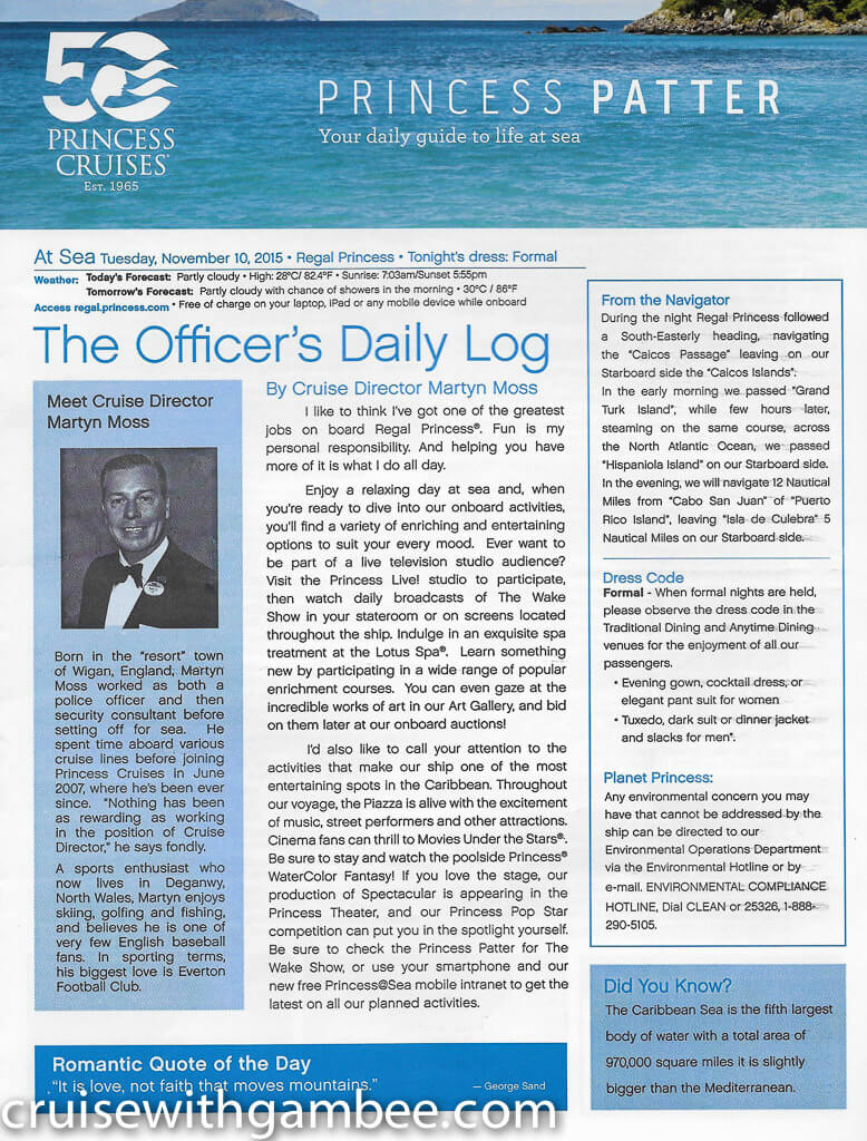 Regal Princess Patter Daily Guide-20