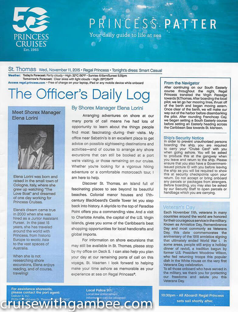 Regal Princess Patter Daily Guide-24