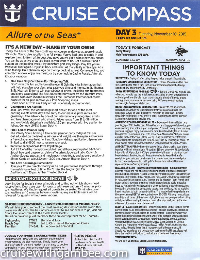 Royal Caribbean Allure of the Seas Compass Daily Paper-14