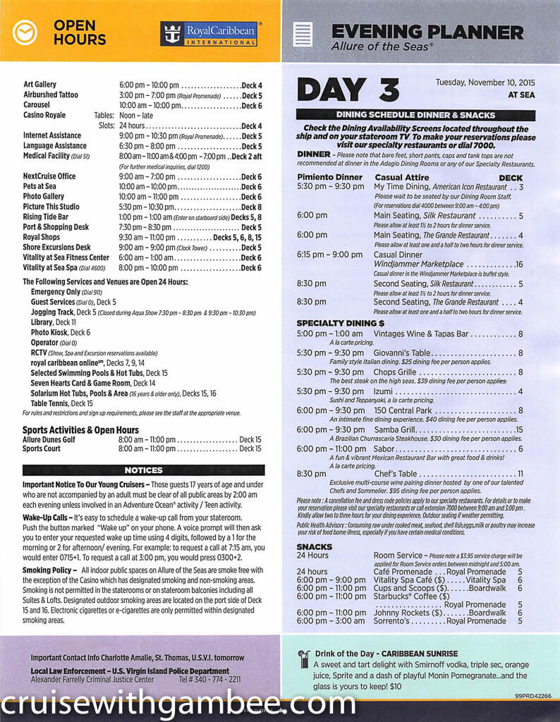 Royal Caribbean Allure of the Seas Compass Daily Paper-18