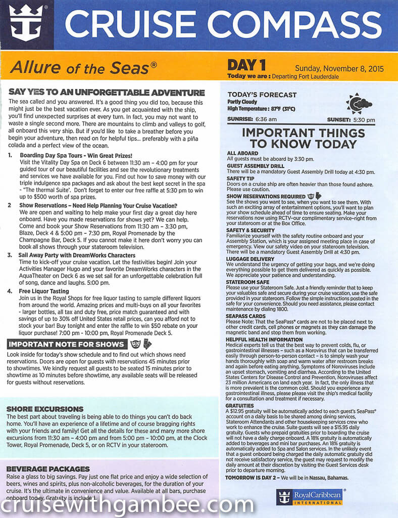 Royal Caribbean Allure of the Seas Compass Daily Paper-2