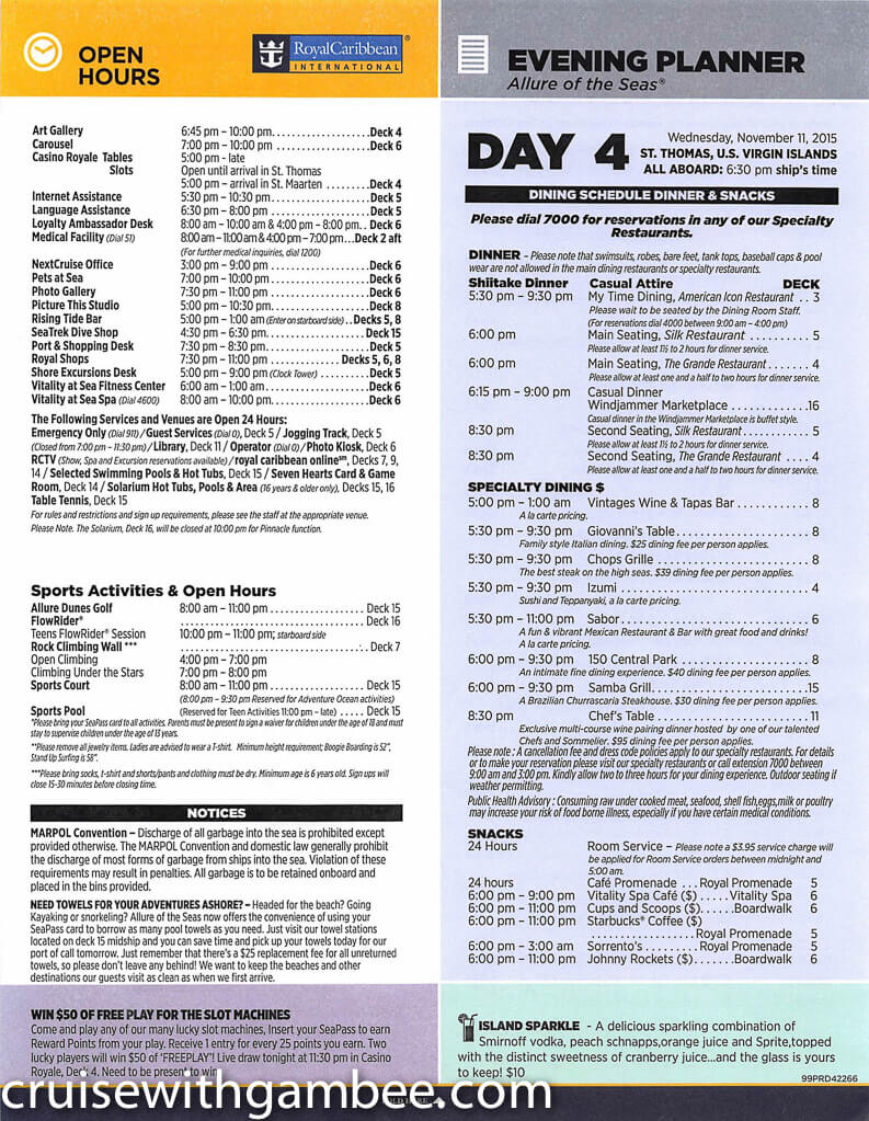 Royal Caribbean Allure of the Seas Compass Daily Paper-24