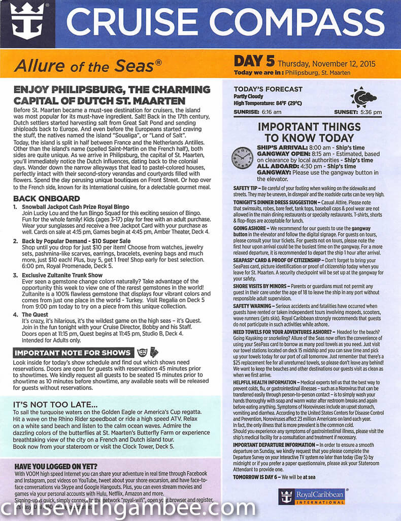 Royal Caribbean Allure of the Seas Compass Daily Paper-26