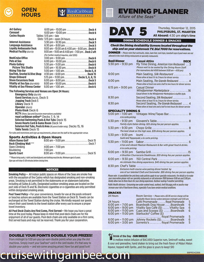 Royal Caribbean Allure of the Seas Compass Daily Paper-30
