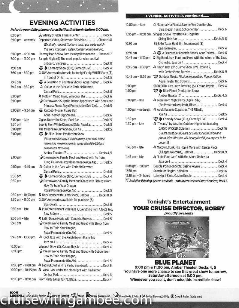 Royal Caribbean Allure of the Seas Compass Daily Paper-37