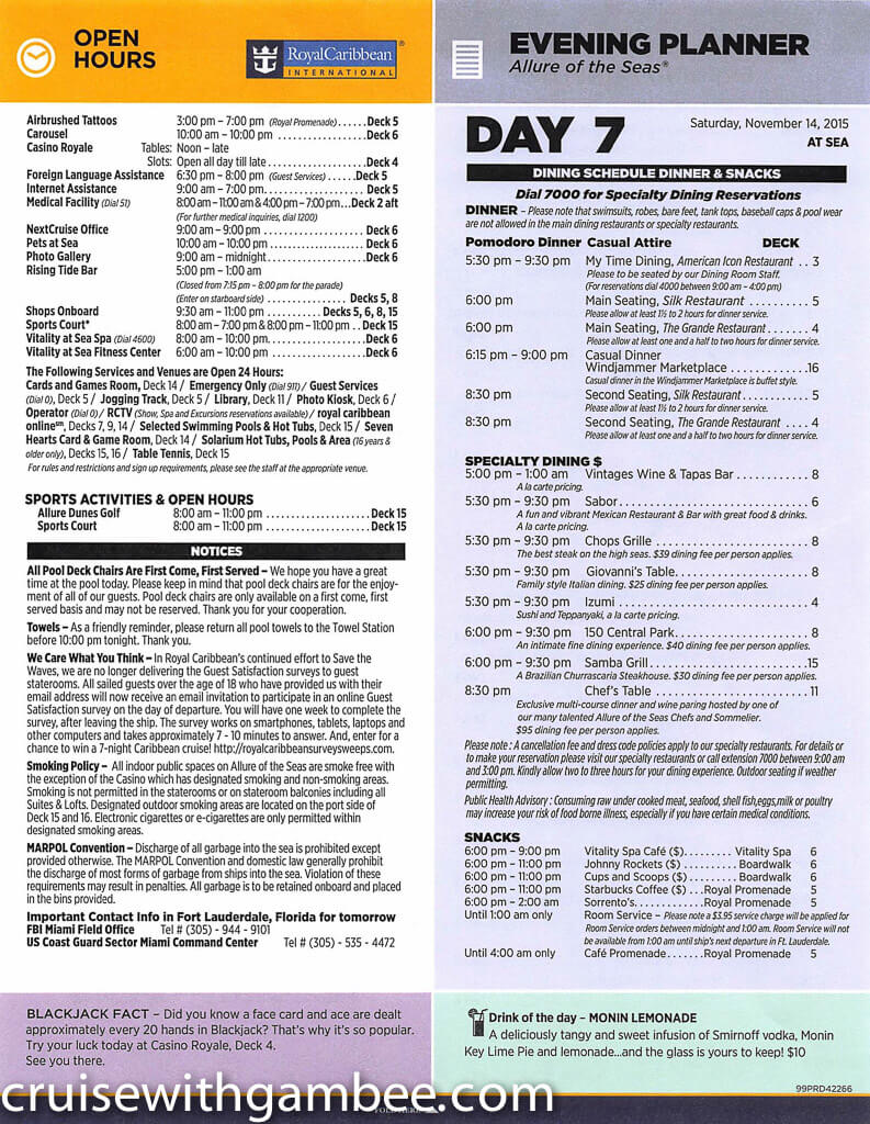 allure of the seas daily cruise compass paper  u2013 cruise with gambee