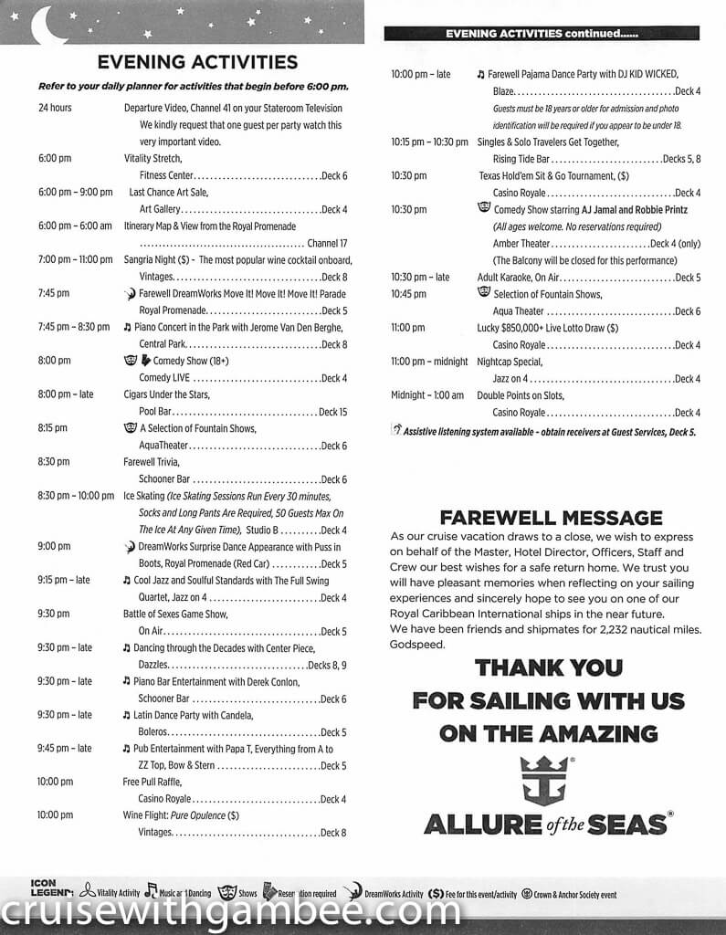 Royal Caribbean Allure of the Seas Compass Daily Paper-43