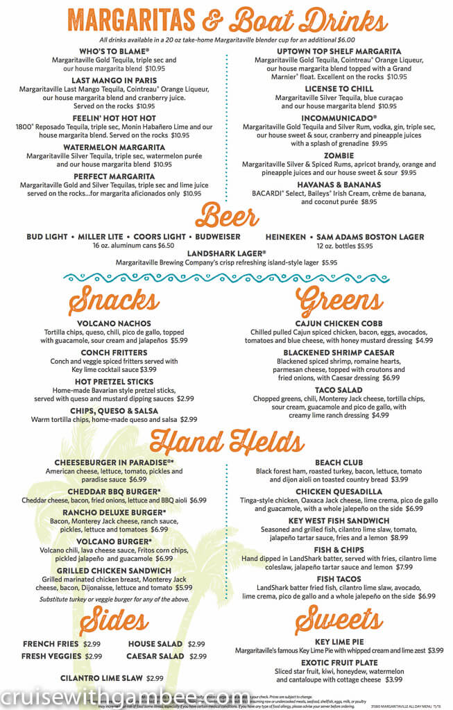Norwegian Escape Margaritaville menu