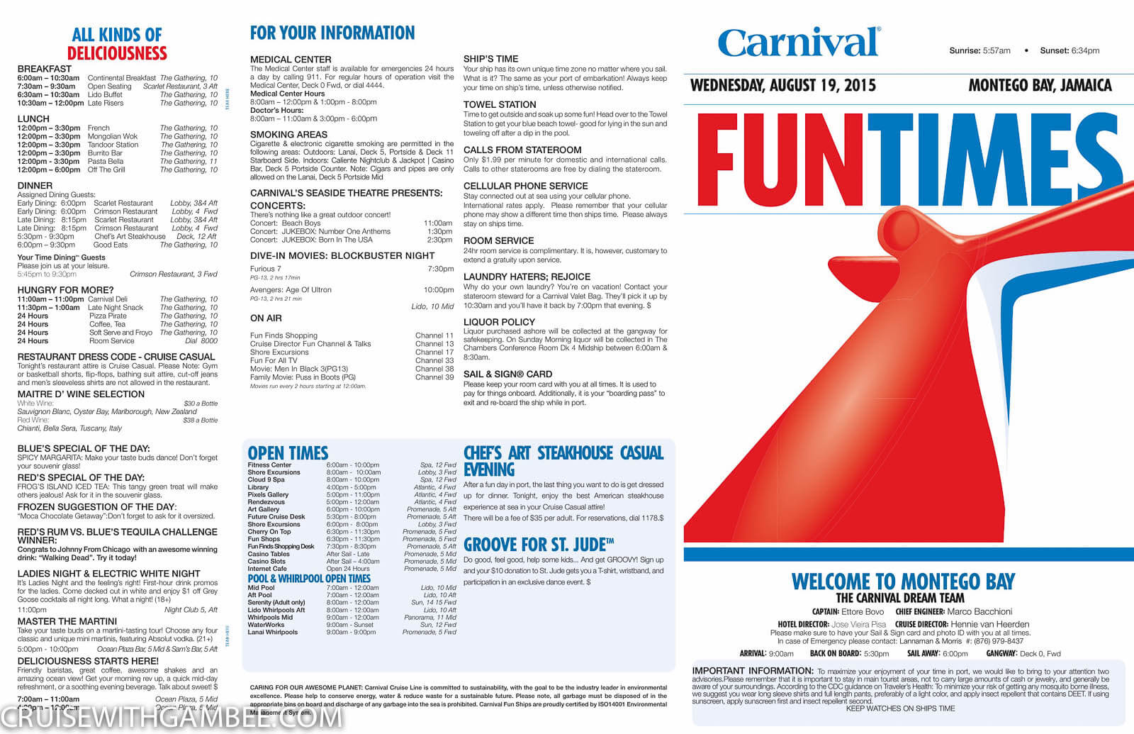 Carnival Dream FunTimes Daily Itinerary  Cruise With Gambee