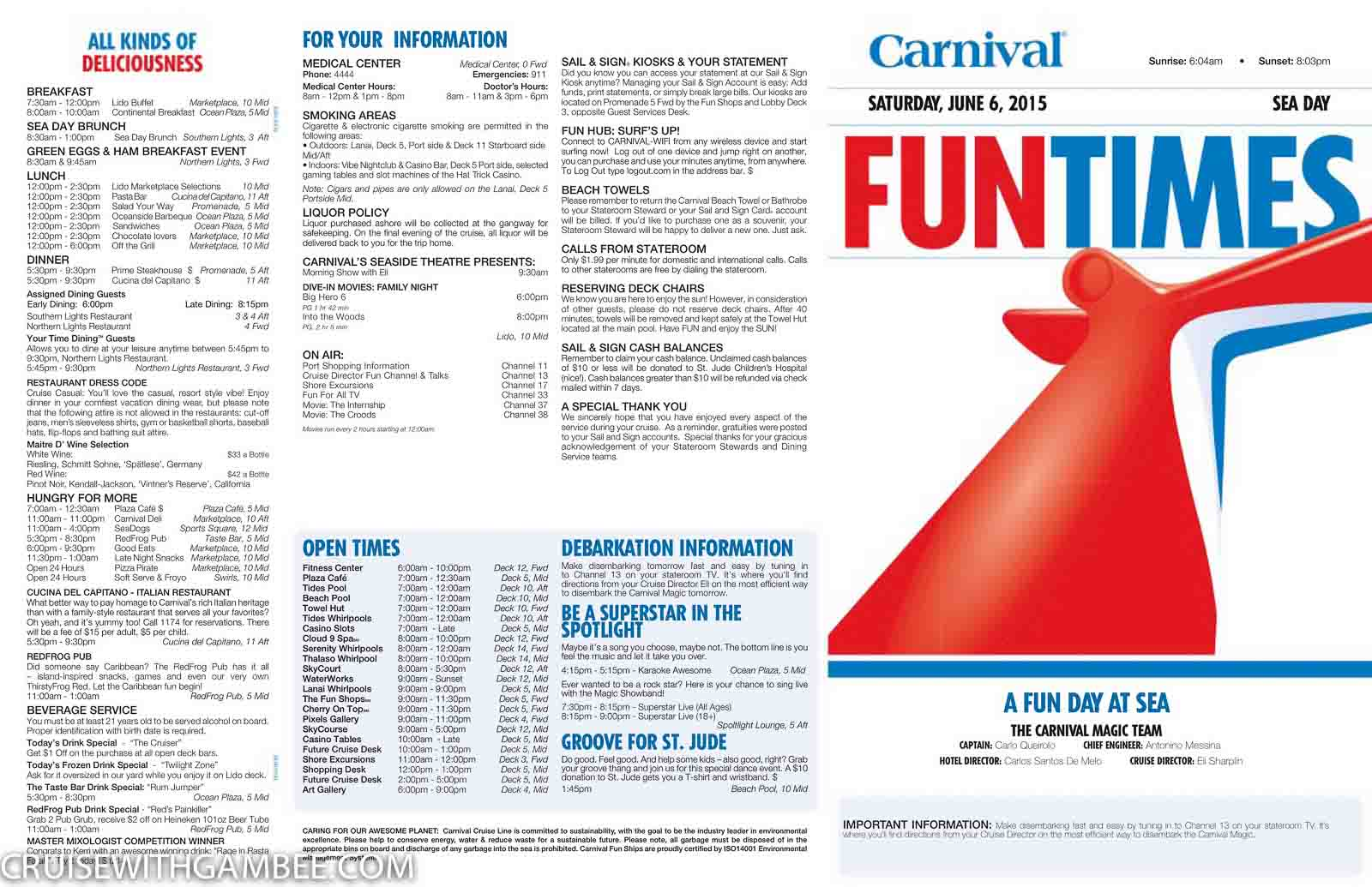 Carnival Magic Funtimes Daily Itinerary Cruise With Gambee