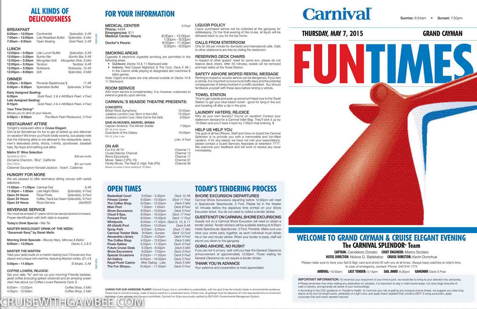 Carnival Splendor Funtimes Daily Itinerary Cruise With