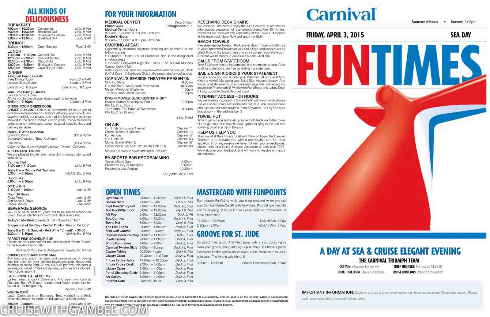carnival triumph funtimes daily itinerary - cruise with gambee