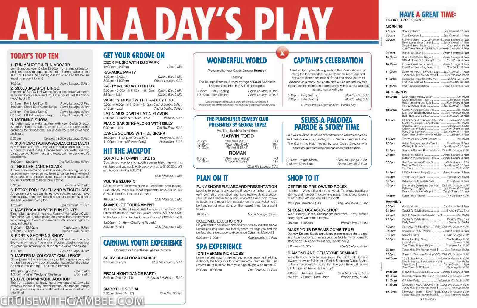 Carnival Cruise Activity Schedule Related Keywords Amp Suggestions  Carniv
