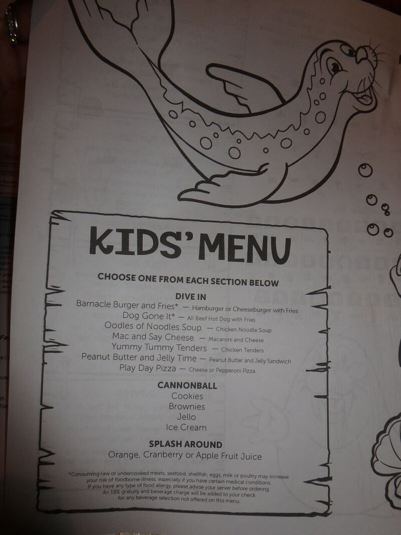 Norwegian Cruise Kids Menu 86