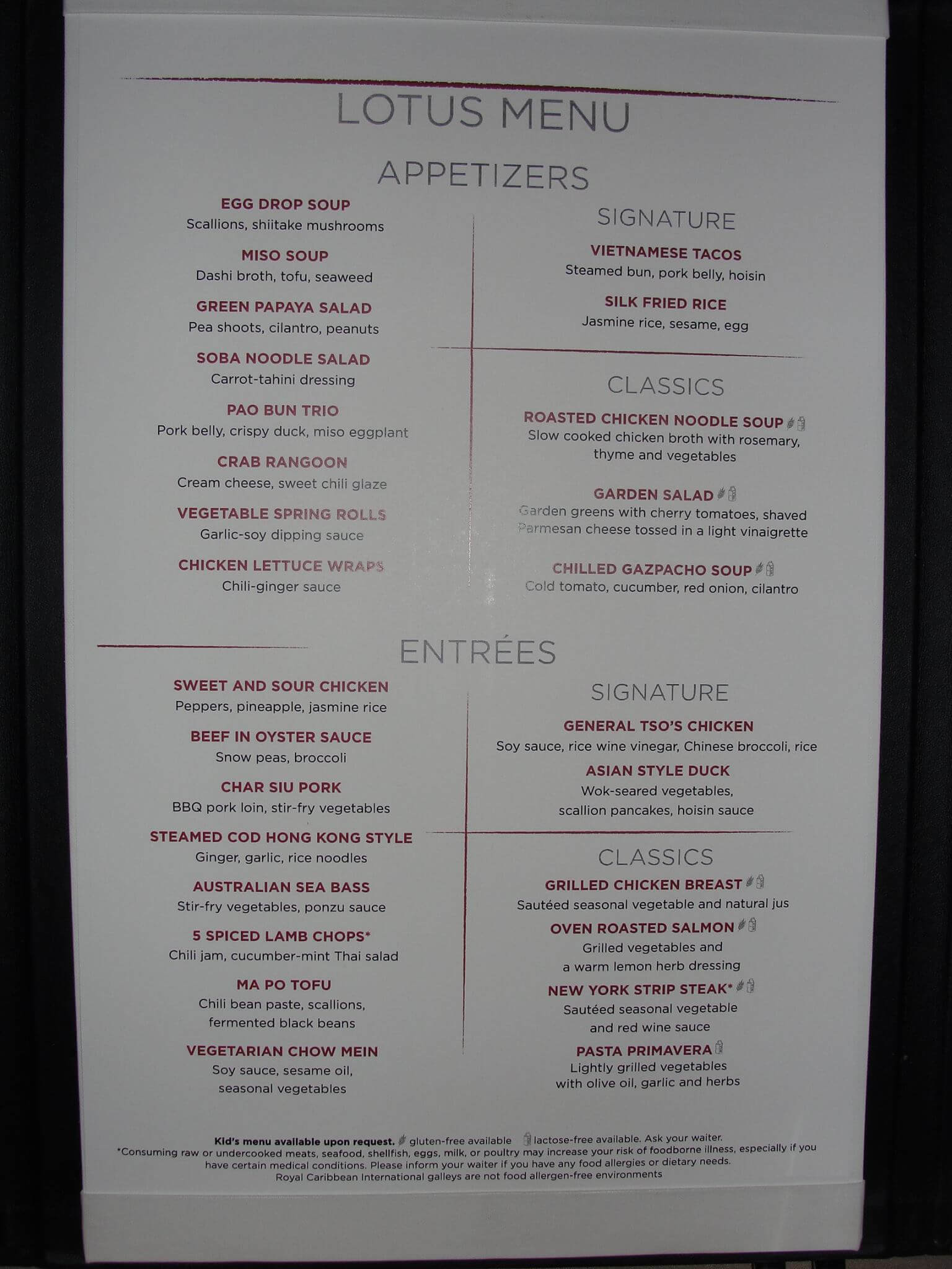 Royal Caribbean Anthem of the Seas Silk menu