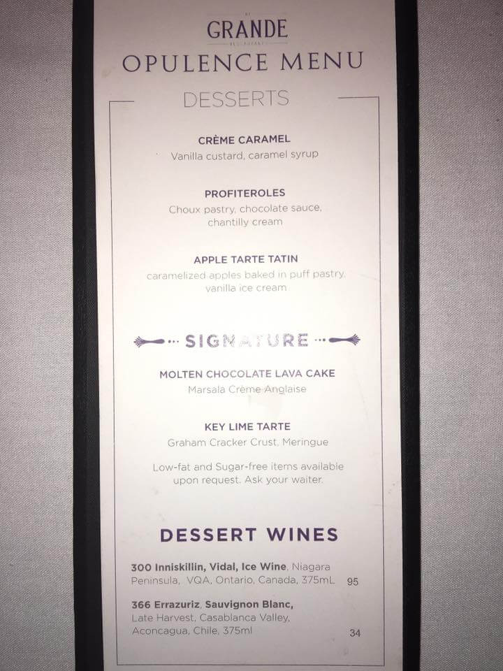 Royal Caribbean The Grande dessert menu