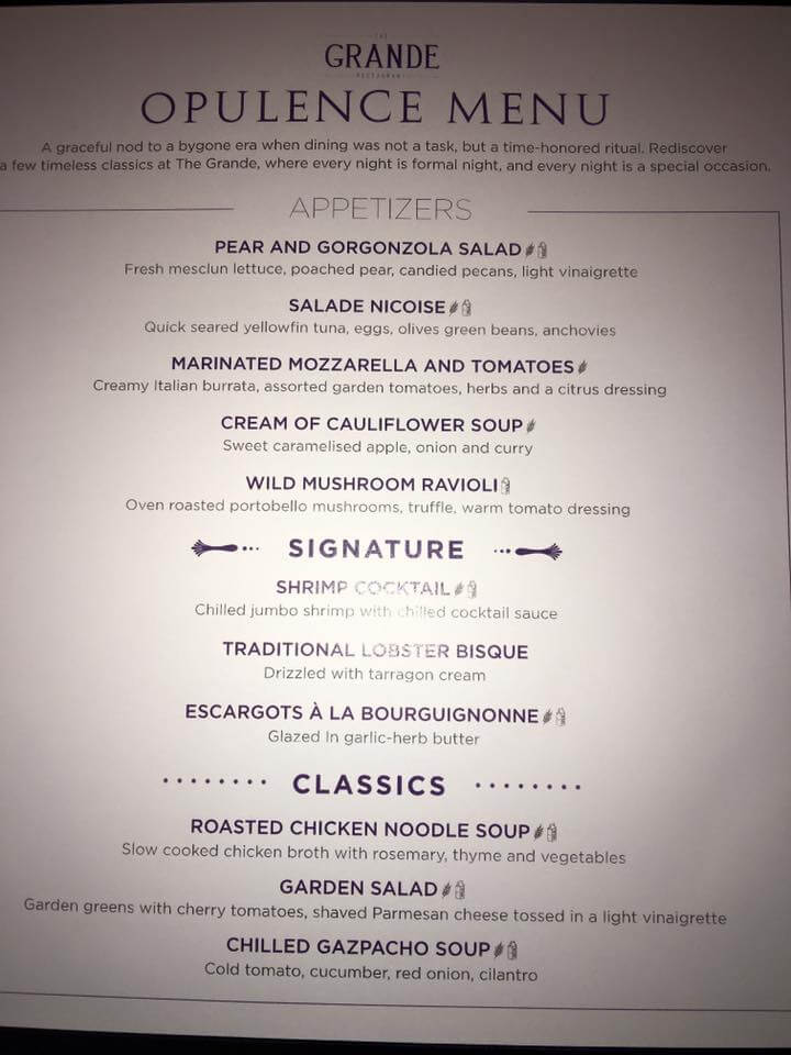 Royal Caribbean The Grande menu-2
