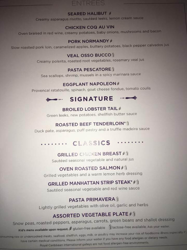 Royal Caribbean The Grande menu-3
